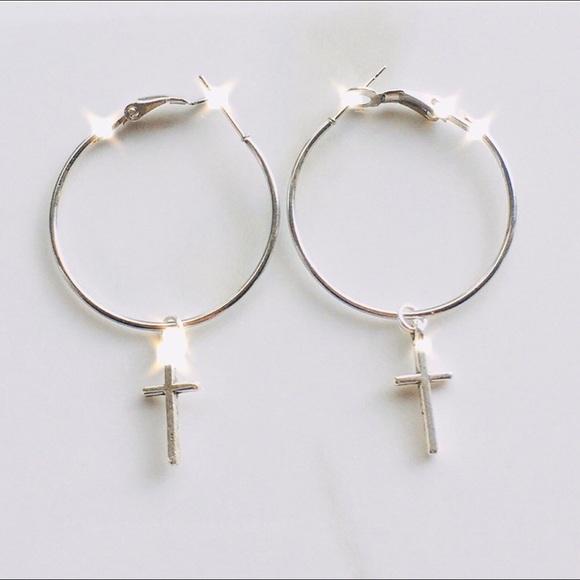 Hand Crafted Jewelry - Hypoallergenic hoop cross earrings